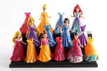 8~9cm 14Pcs/Set Princess Figures Snow White Ariel Belle Rapunzel Aurora PVC Action Figures Toys Dolls Dress Clothes Changeable