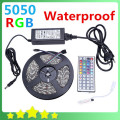 Waterproof 5050 RGB Led Strip 5M 300leds SMD with DC 12V 6A Adapter 44Key mini Remote Controller free shipping