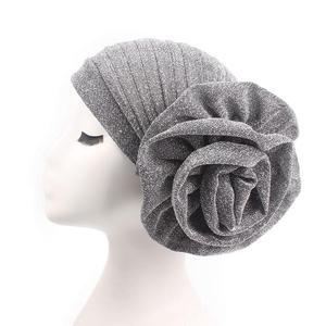 Image 5 - Muslim Women Turban India Beanie Hat Flower Stretch Arab Hat Head Scarf Wrap Cap Jersey Cover Bonnet Glitter Headwear Fashion