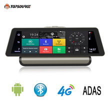 TOPSOURCE 10 Inch 3G / 4G Android Car DVR 1080P Video Camera GPS Navigation ADAS Full HD Camcorder Bluetooth WiFi Dual lens