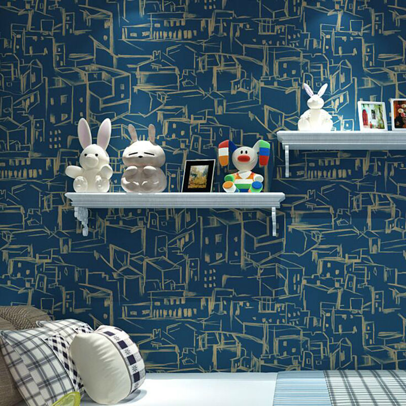 Modern Fashion Mediterranean Children Room Non-woven Wallpaper Roll for Wall Living Room Bedroom mediterranean style sky blue wallpaper modern pure color wall paper roll for bed room livingroom