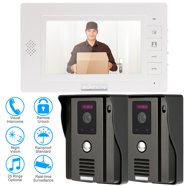 KKmoon 7 Inch Video Door Phone Doorbell Visual Intercom Kit 2 Camera 1 Monitor Night Vision Real Time