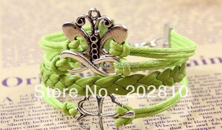 Купить оптовая продажа панк бабочка клевер кожаный тканый браслет кулон