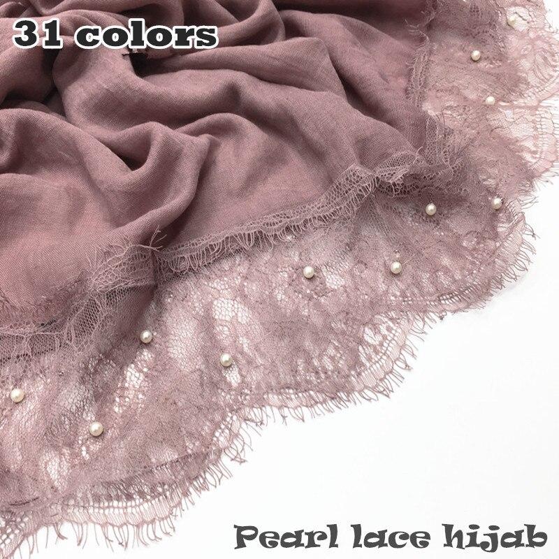 31 Color Luxury Pearl Lace Hijab Scarf Plain Maxi Shawl Popular Muslim Lace Scarfs Headbands Hot Sale 10pcs/lot