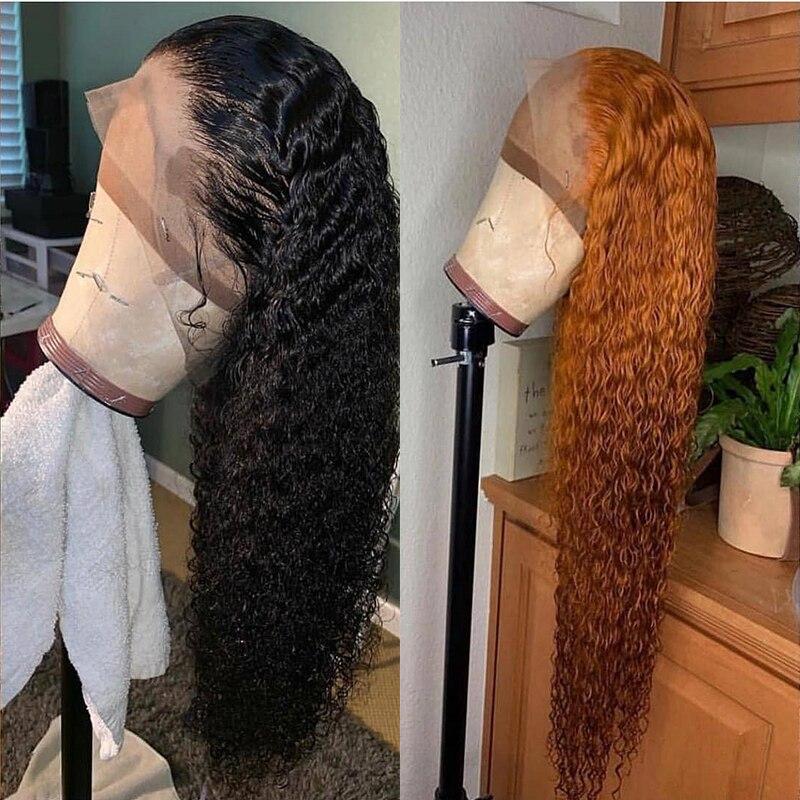 13x6 Lace Front Paryk För Kvinnor Curly Mänskliga Parykker 250% - Mänskligt hår (svart) - Foto 5