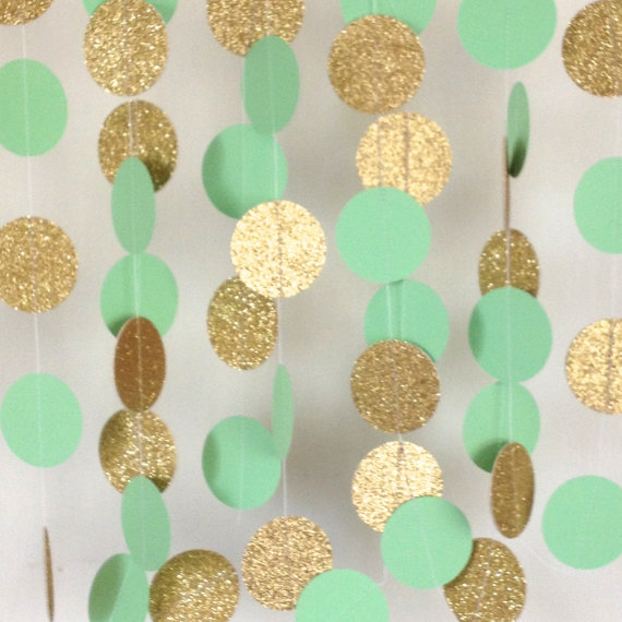 Jumbo Mint Green And Gold Wedding Garland Paper Bridal Shower