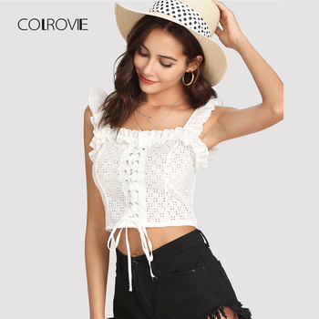 COLROVIE Lace Up Front Ruffle Crop Top 2018 Summer Spaghetti Strap Ruffle Cut Out White Clothing Women White Vacation Vest Top