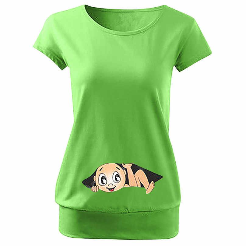 Plus ขนาดตลกเสื้อยืดน่ารักพิมพ์เด็กตั้งครรภ์เสื้อยืด Maternity Tees เสื้อผ้าเสื้อกั๊กพยาบาลการตั้งครรภ์ Tee เสื้อ 4JJ