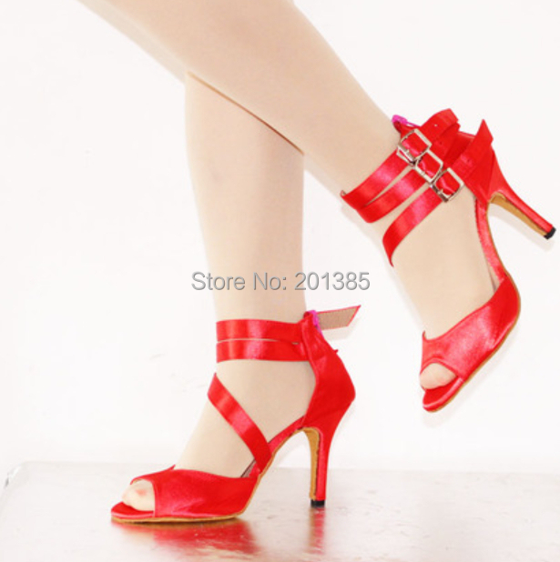 Sexy Red Satin Ladies LATIN Dancing Shoes SALSA Dance