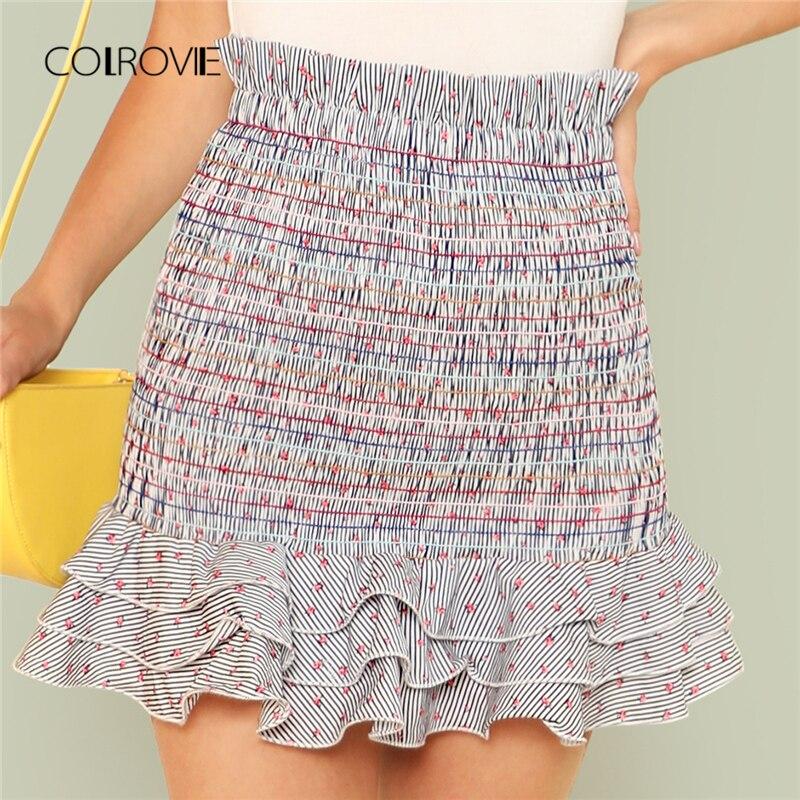Mini jupe rayée de couleur florale