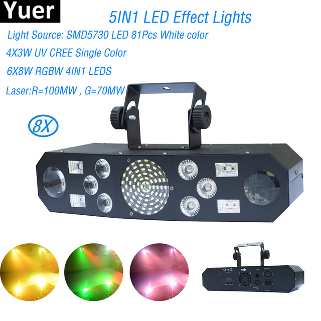 8Pcs/Lot DJ equipment Stage Light Bar Black Party Club Disco Light For Christmas Indoor Stage 5IN1 LED Effect Lights