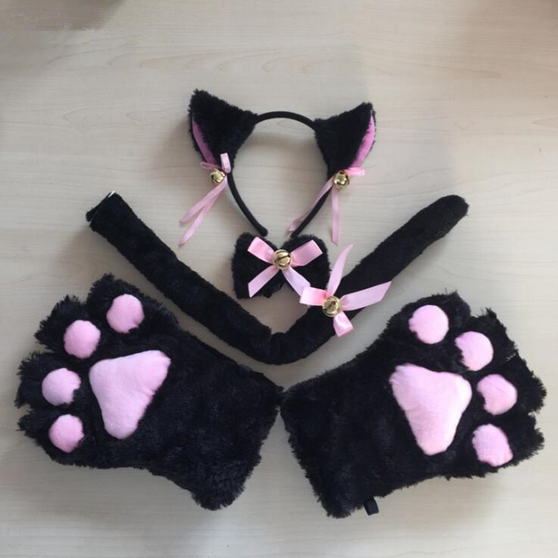 Women Lady Fox Cat Girls Plush Ear Bell Headband Tie Tail Paws Maid Fancy Dress Party Props Cosplay Costume Halloween Christmas(China)
