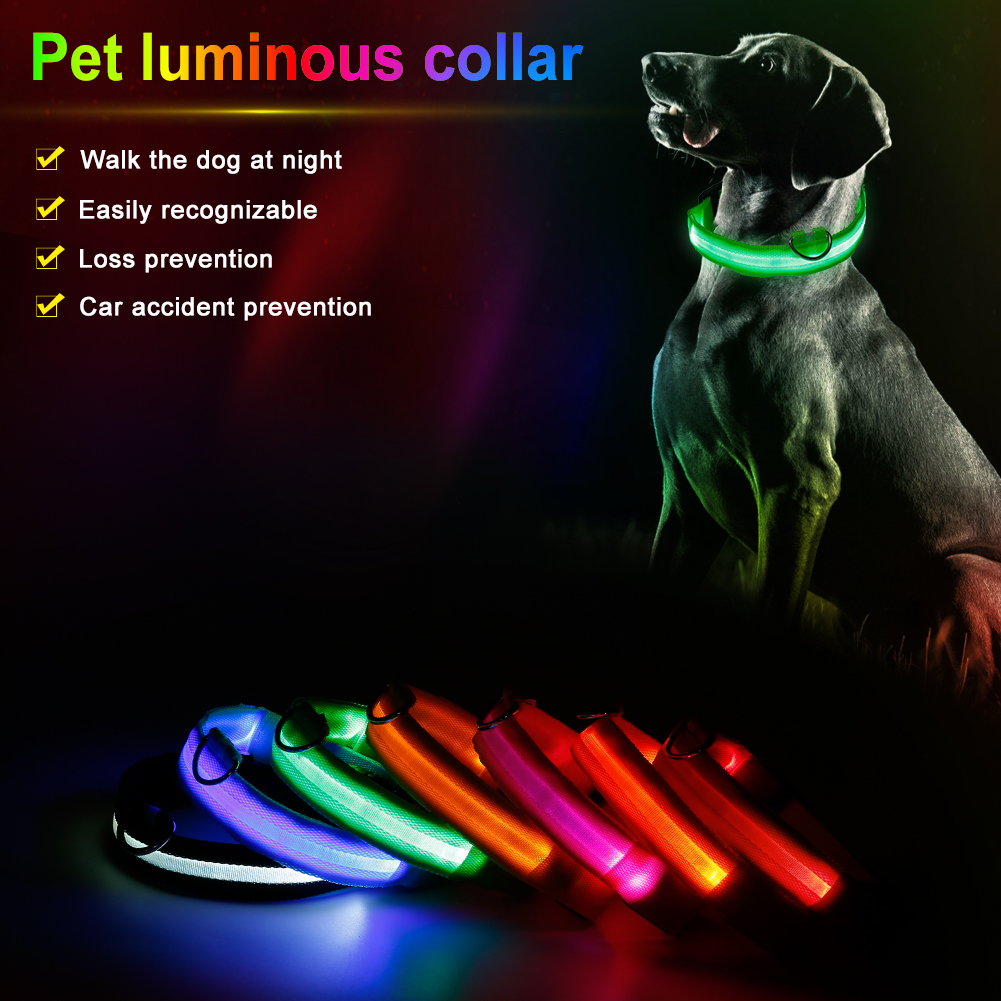 1pc Pet Supplies LED Luminous Fluorescent Collars Anti-Lost Nylon Light Dogs Leash Safely Flashing Glowing Cats Harness 7 Colors