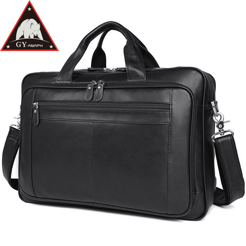купить ANAPH Original Nappa Genuine Leather Business Briefcase For Men 17 Inch Laptop Bag Large Capacity Tote Bags Top Quality In Black по цене 8839.68 рублей