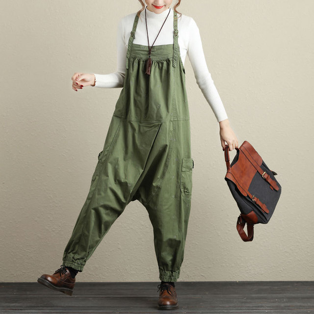 42f91c676ff6 Army Green Bib Pants Harem Jumpsuit Plus Size Wide Leg Baggy Low Drop Crotch  Ankle Overalls for women G111604