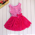 Fashion Baby Girl Tutu Dress Pink Striped Chiffon And Cotton Princess Vestido Clothes Kids Clothing