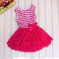Moda Bebê Menina Vestido Tutu cor de Rosa Listrado Chiffon E Algodão vestido de Princesa Vestido de Roupa Dos Miúdos Roupas