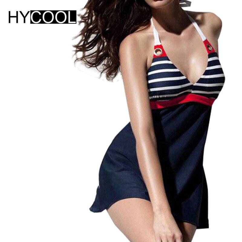 HYCOOL Women Retro Swimsuit One Piece Bating Suits Navy Blue Swimdress Plus Size Swimwear Classic Stripes Bikinis XL 2XL 3XL 4XL adidas купальник 3 stripes swimsuit