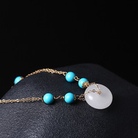 Real 14k Gold Plated Charm Bracelets For Women Original Handmade Diy Chain Natural Turquoise Stone White Jade Peace Buckle