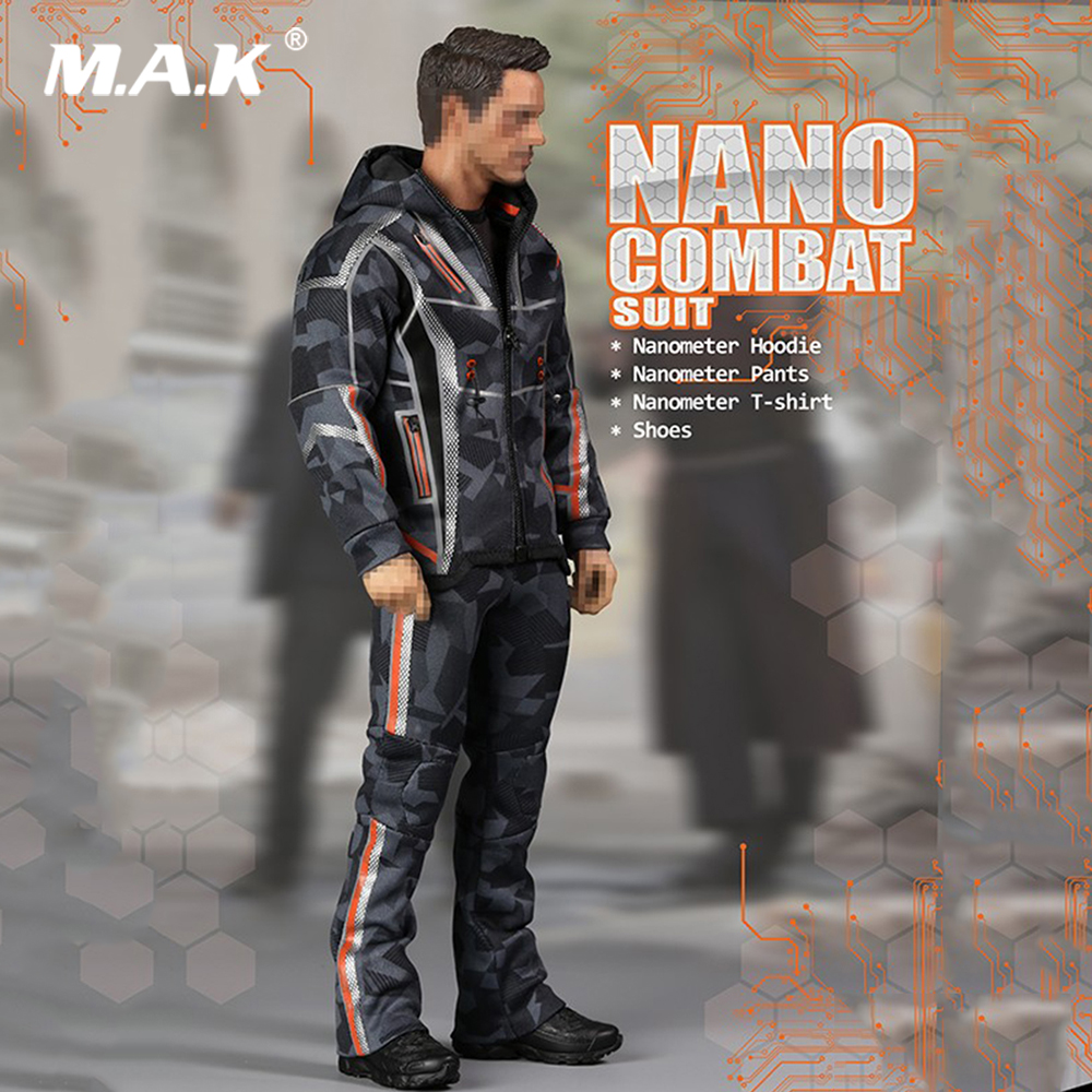 In Stock 1/6 Male Clothes Set Tony NANO COMBAT SUIT & Shoes F-080 Model For 12inches Iron Man Tony Action Figure Accessory