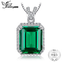 JewelryPalace Luxury 5.5ct Created Emerald Halo Pendant Necklace 925 Sterling Silver 45cm For Women Necklaces