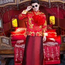 Claret Red Groom Wedding Suits Traditional Chinese Clothes Men Cheongsam Tang Robe Man Ancient China Dynasty Dragon Costume