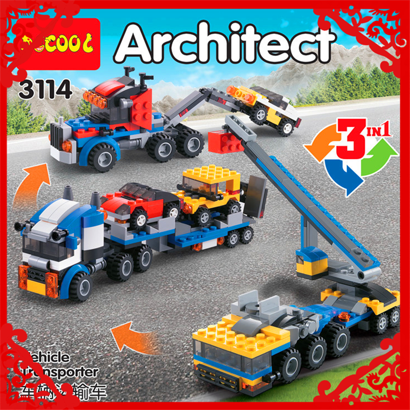 DECOOL 3114 City Creator 3In1 Vehicle Transporter Building Block 264Pcs DIY Educational  Toys For Children Compatible Legoe sluban 2500 block vehicle maintenance repair station 414pcs diy educational building toys for children compatible legoe