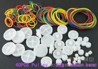 20g kauçuk + 40 adet kemer tekerlek plastik kasnak grubu modeli uydurma diy kendini kontrol oyuncak araba parçaları, Küçük kasnak aksesuarları