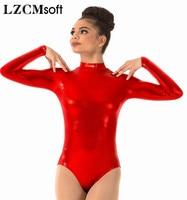 LZCMsoft Women S Long Sleeve Leotards Turtleneck Gymnastics Dance Leotard One Piece Stage Performance Shiny Metallic