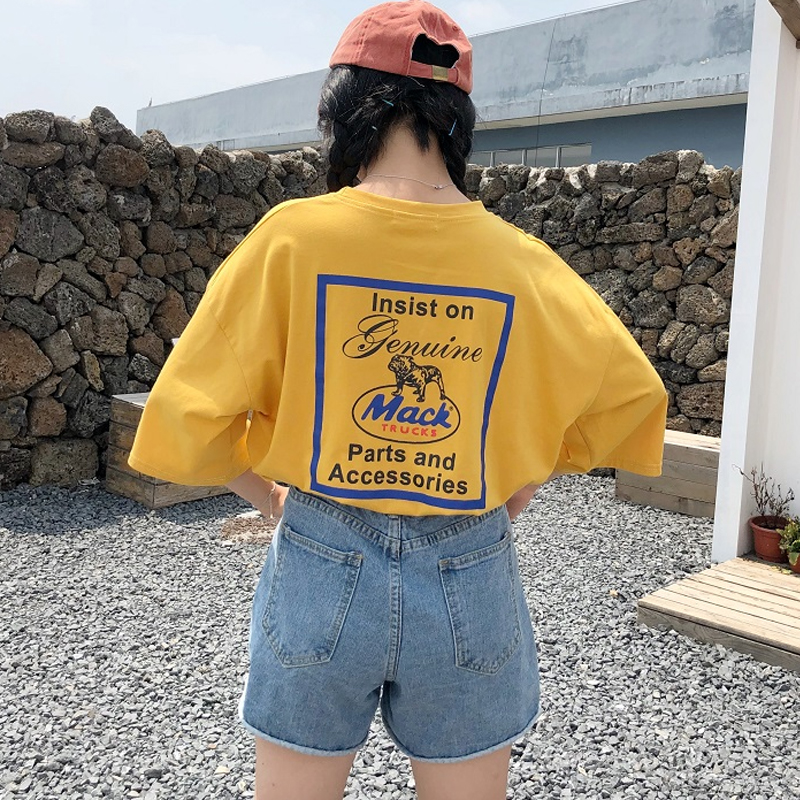 korean fashion Summer   T     shirt   women letter printing loose casual harajuku   T  -  shirt   Short Sleeves yellow tshirt big size Tops Tee