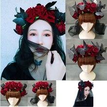 Handmade róg owcy czerwony różany motyl pałąk Hairband akcesoria Demon zło Gothic Lolita Cosplay nakrycia głowy na Halloween Prop
