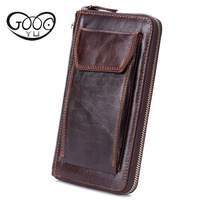 Men long section of the hand bag head cowhide wallet package business phone package Japanese and Korean version of long fashion