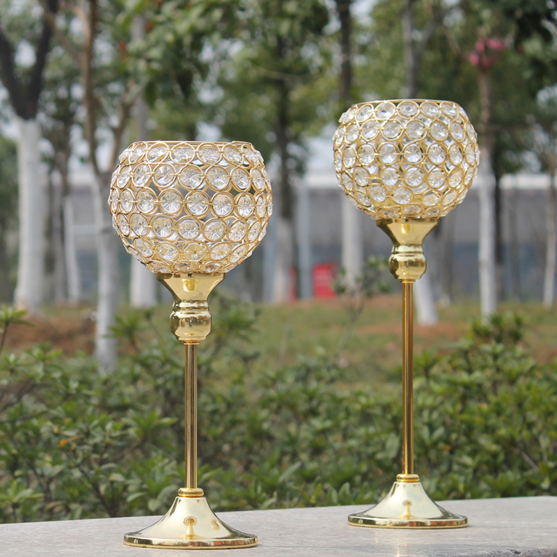 Aliexpress.com  Buy New metal gold plated candle holder with crystals wedding candelabra/centerpiece decoration candlestick 1 set u003d2 pcs from Reliable ... & Aliexpress.com : Buy New metal gold plated candle holder with ...