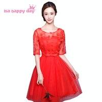 Đỏ dress cô gái pageant modest knee length bridesmaid dresses với sleeves teens cho đảng bóng gowns giá rẻ và đám cưới B3802