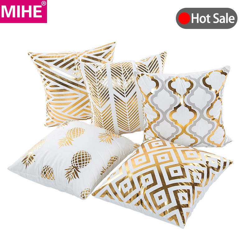 MIHE Christmas Cushion Cover Decorative Pillow Case Eco-Friendly Gold Sofa Seat Case Car Pillowcase Soft Bed Pillow Case BZT08(China)
