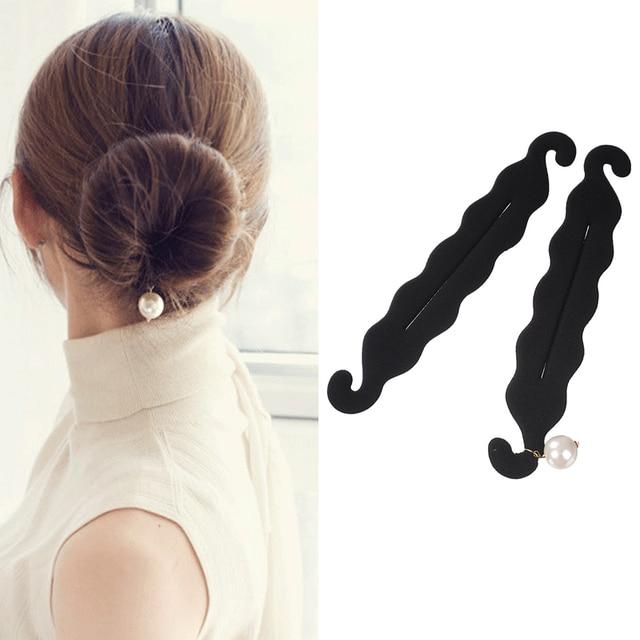 M MISM 24cm/9.45inch Pearl Sponge Hair Styles Maker Tress Tool Hair Accessories Bands DIY Bun Magic Bud For Women