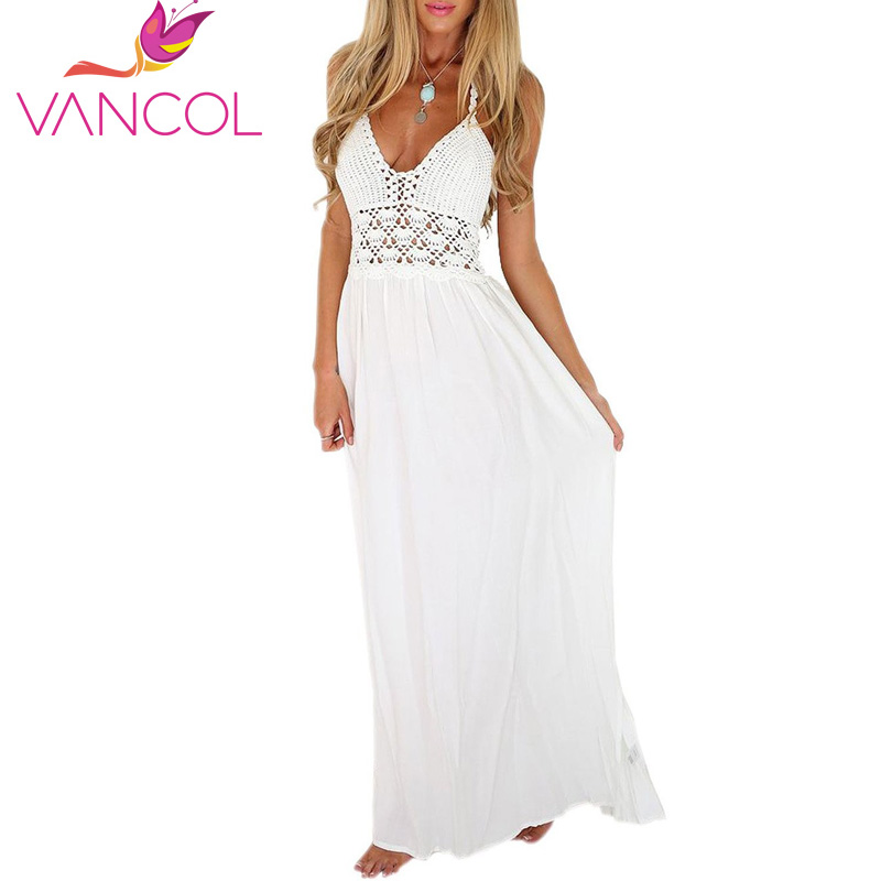 White Sling V Neck Backless Sexy Dress Sleeveless Hollow Out Summer ...