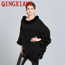2018 Fashion Pashmina Women Warm Winter Scarf Shawl Faux Cashmere Fur Collar Cape Wraps Poncho Ladies Stoles