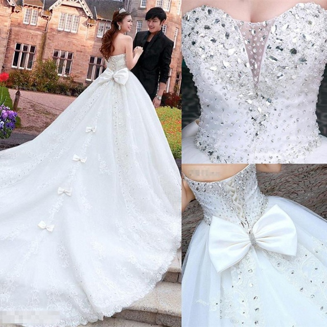 Lace Luxury Princess Wedding Dresses ball gown royal train Bling ...