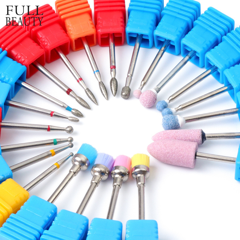 22 Types Diamond Ceramic Rotary Burr Nail Files Cuticle Clean Mills Brush for Electric Manicure Nail Drill Accessories CHGS/M/S easynail 26 types super white ceramic nail drill bitelectric drilling manicure machine accessories nail tool cuticle remover