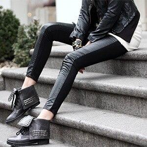Babbytoro Women Leggings 2019 Women's Vinyl Cotton Patchwork Leg Pants Plus Size 7XL 6XL 5XL 4XL XS Jeggings Pants Brand