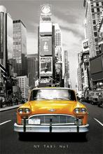 Custom Canvas Art The NY Taxi NO.1 Poster Taxi Wall Stickers Retro Home  Decoration New York Street Car Bedroom Decals