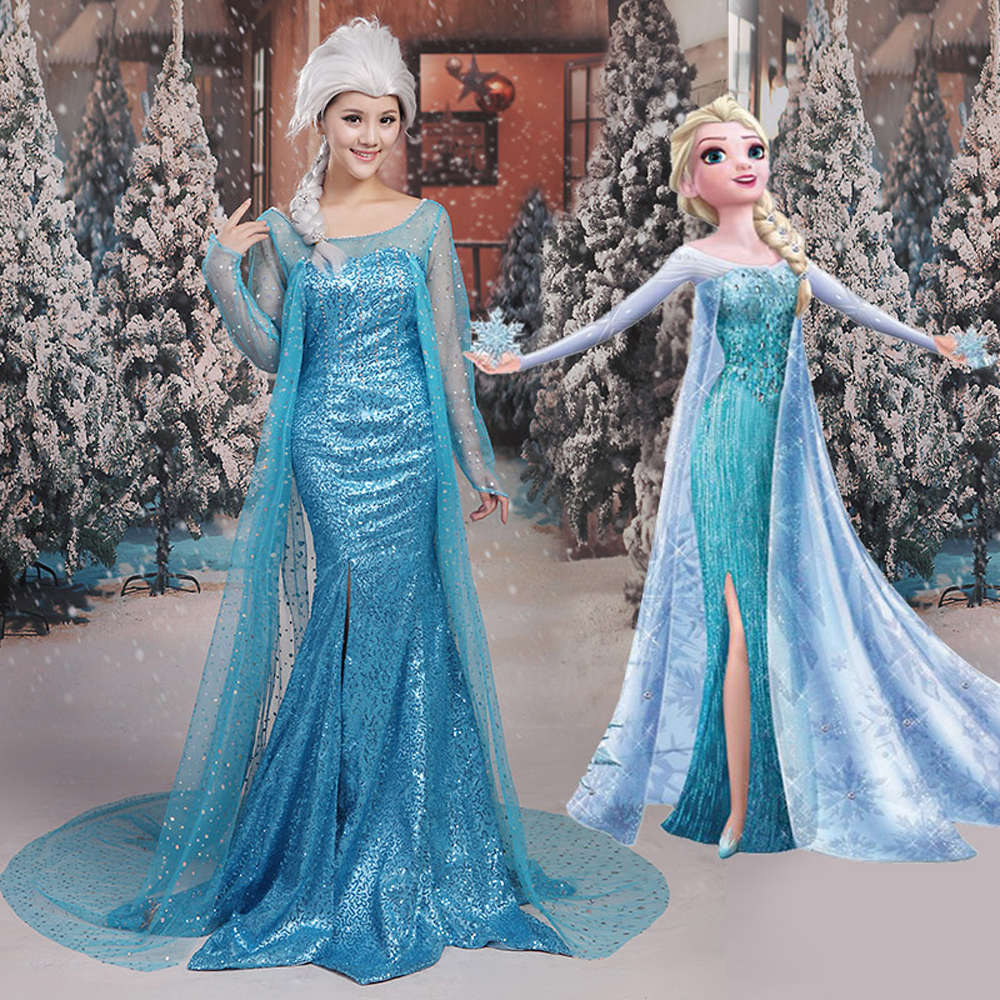 High Quality Adult Snow Queen Princess Elsa Cosplay Costume Elsa Long Blue Dress Women Halloween Costumes Party Dress Two Style