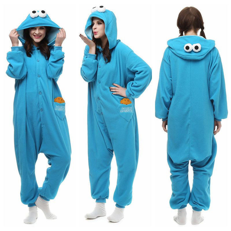 Anime Cartoon Blue Sesame Street Elmo Cookie Monster Costume Adult Pyjamas Jumpsuit Sleepwear Halloween Pyjamas Christmas Gift