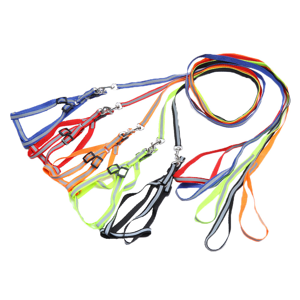 2PCS Nylon Reflective Dog Harness Leash Lead Set For Small Medium Dogs Puppy Chihuahua Yorkie Large Dogs 5 Colors