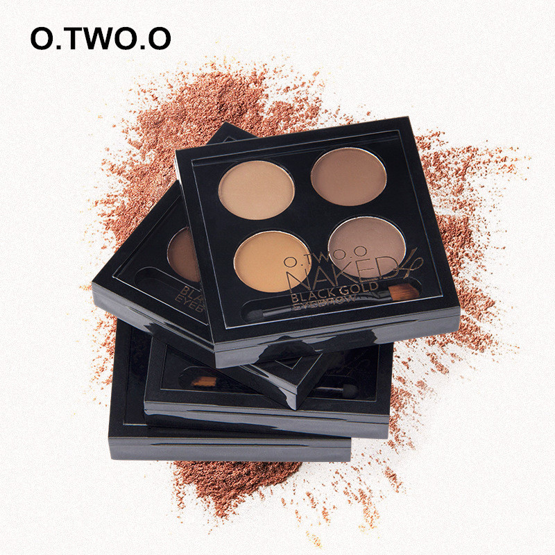 O.TWO.O 4 Color Eyebrow Powder Palette with Eyebrow Brush Long-lasting Waterproof Easy To Color Natural Eye Brow Eye Makeup 6038