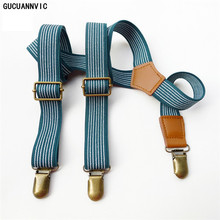 Pants Suspenders Braces Vintage Mens 3-Clip New Green Retro Striped for And Tirantes