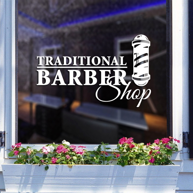 DCTAL Man Barber Shop Sticker Bread Decal Haircut Shavers Posters Vinyl Wall Art Decals Decor Windows Decoration Mural