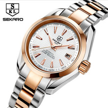 2017 SEKARO Luxury Brand Mechanical Watch Women Leather Bracelet Waterproof Sapphire Mirror Stainless Steel Automatic Watches