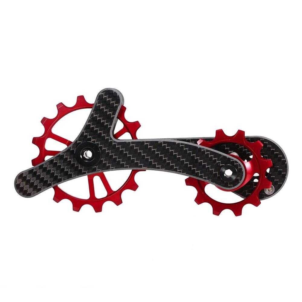 自転車ディレイラープーリー自転車リアジョッキーホイールセット 16 T + 12 T セラミックベアリングガイドローラアイ軽量カーボン繊維 -